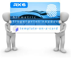 R x 6 biometric fingerprint reader template-on-a-card