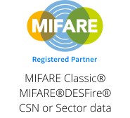 Registered Partner MIFARE Classic® MIFARE®DESFire® CSN or Sector data
